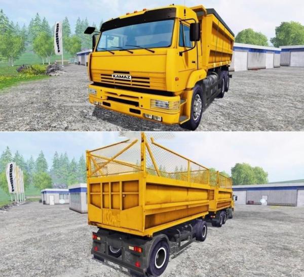 Мод грузовик КАМАЗ 45143 и Нефаз для Farming Simulator 2015