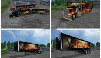 Мод прицепы и тягач Volvo Grave Digger v 1.0 для Farming Simulator 2015