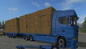 Мод грузовик SCANIA S FLATBED AND MATCHING TRAILER для Farming Simulator 2015
