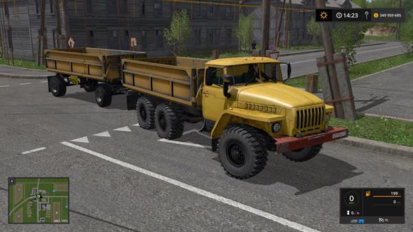 Мод грузовик УРАЛ 5557 С ПРИЦЕПОМ V2.0 для Farming Simulator 2015